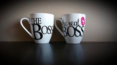 The Boss/The Real Boss COUPLES Coffee Mug Set; Present/Gift; Engagement This is the perfect gift for any couple! This listing includes two coffee mugs that are roughly 4 Couples Coffee Mugs, Couple Mugs, Coffee Mug Sets, Mugs Set, Coffee Cups, Bosses Day Gifts, Diy Mugs, Coffee Tasting, Present Gift