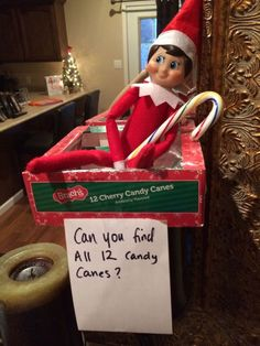 Elf on the shelf idea: find hidden candy canes