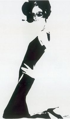 Fashion illustration by David Downton , 1999, Jean Paul Gaultier, Black ink on paper.   Collection of the artist.