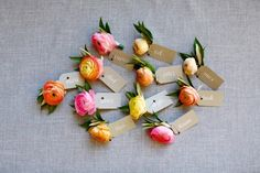 Yellow & Pink Ranunculus Boutonnieres