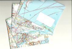Umschläge aus Landkarten. alte Landkarten müsste man doch auch irgendwoher für umme bekommen