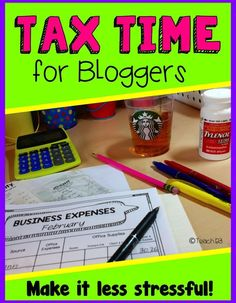 Tax tips for bloggers. FREE site wide TPT sales chart. Organization system that works great for me that can be used as a binder or bound as a book. $