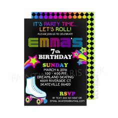 Neon Roller Skating Birthday Party Invitation by PaintingParisPink