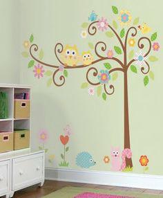 Mais um adesivo de parede!!! Este bem feminino, com  cores alegres e outros bichinhos para aguçar a criatividade das crianças!!!