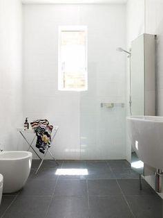 Image result for bathroom white walls grey floor