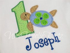 Sea Turtle Birthday T Shirt Boys Personalized Applique Summer Ocean Pool Party Beach Toddler 1sr 2nd 3rd. $20.65, via Etsy.