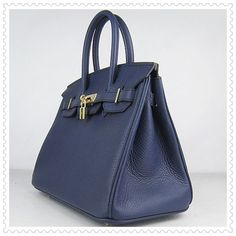 Hermes Birkin 30CM Handbag Blue Golden