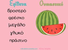 Ουσιαστικά κι  επίθετα. mikrobiblio.weebly.com Learn Greek, Greek Language, Social Stories, Word Games, School Projects, Special Education, Kids And Parenting, Grammar, Preschool
