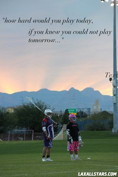 something to ponder... what would we invest if we knew that we couldn't invest any more tomorrow? ..and I love lacrosse
