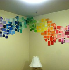 You know the paint sample cards at stores? Well you can take them home and put them on your wall for a cool, artsy look!