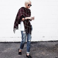 A white tee and boyfriend jeans look so chic with an oversized scarf.