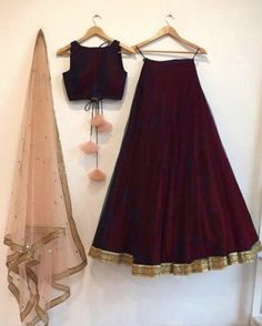 Red wine color lengha skirt and blouse crop top with contrast blush peach/ mint green dupatta indian wedding bridesmaid indo western dress Wine silk lehenga choli set with a contrast embroidered peach/mint green dupatta. The lehenga choli is a custom made Indian Fashion Dresses, Indian Gowns Dresses, Dress Indian Style, Indian Designer Outfits, Indian Skirt And Top, Pakistani Dresses, Lehenga Choli Designs, Lengha Design, Indian Lehenga