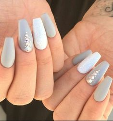 Diamonds on Grey Nails Looks Devastating on Parties