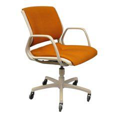 Vintage Steelcase Mid-Century Modern Orange Rolling Office Desk Arm Chair