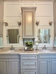 Perfect as a medicine cabinet in the upstairs bathroom. Master Bath Remodel Idea :: Hometalk I like this cabinet idea that doesn't go all the way down to the countertop Big Bathrooms, Bathroom Renos, Bathroom Renovations, Home Remodeling, Bathroom Ideas, Bath Ideas, Shower Bathroom, Vanity Bathroom, Bathroom Makeovers