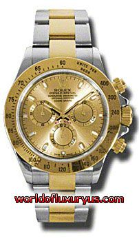 116523-CHS - This Rolex Oyster Perpetual Cosmograph Daytona Mens Watch, 116523-CHS features 40 mm Stainless Steel case, Yellow Gold dial, Sapphire crystal, Fixed bezel, and a 18K Yellow gold bracelet. Rolex Oyster Perpetual Cosmograph Daytona Mens Watch, 116523-CHS also features Automatic movement, Analog display. This watch is water resistant up to 100m/330ft. - See more at: http://www.worldofluxuryus.com/watches/Rolex/Daytona/116523-CHS/641_645_6528.php#sthash.dFixfUlo.dpuf
