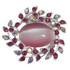 Heuchera Silver Pink Crystal Scarf Clip