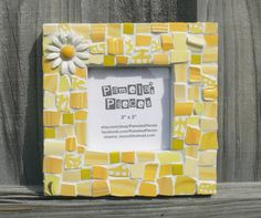 Yellow Daisy Broken China Mosaic Picture Frame.