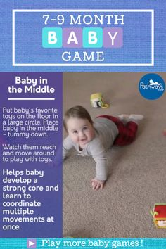Get baby to move around during #TummyTime by placing their favorite toys in a circle with baby in the middle! Great for helping 7-9 month old babies develop their coordination skills and core strength! Try playing these other 7-9 month games at Pathways.org. #babygames #babyactivities #babyplay #motorskills #grossmotor #pediatrictherapy #motordevelopment #babytoys #7monthsold #8monthsold #9monthsold Baby Learning Activities, Infant Activities, Baby Sensory Play, Baby Play, Baby Life Hacks, 9 Month Old Baby, Infant Classroom, Baby Information, Baby Development