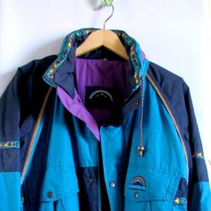 VINTAGE 1980s outer gear brand turqouise yellow by artwardrobe, $28.00