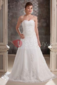 きれいなA-ラインスイートハートネック袖無アップリケスイープトレーンウェディングドレス