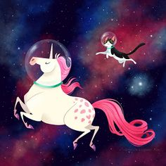 Space Unicorn and Space Cat! - Els-A-Sketch, by Elsa Chang - Two of my favourite things! Real Unicorn, Magical Unicorn, Rainbow Unicorn, Unicorn Cat, Unicorn Sketch, Elsa Chang, Space Unicorn, Unicorns, Space Cat