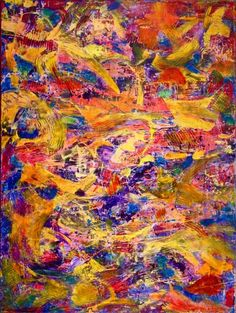 ARTFINDER: A 1000 gestures (acrylic and Oil) by Nestor Toro - Vibrant piece with bold color blending, drips and big palette knife strokes. This painting conveys motion and energy as well as lots of light and fast change...