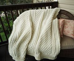 Aran Afghan, *free* pattern by Priscilla Hewitt ~ Classic design creates a heavy fabric with a rich texture of bobbles, cables, & ribs. Worked in rows. Pic from Ravelry Project Gallery by dbriese. One of the most beautiful patterns I've come across. . . . . ღTrish W ~ http://www.pinterest.com/trishw/ . . . . #crochet #blanket #throw