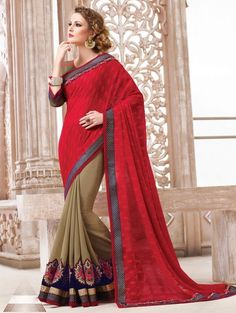 Red and Beige Georgette Saree with Embroidery Work