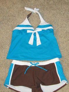 Women's 2 piece Tankini Aqua Multi  Swimsuit Halter top with Boy short Size 14