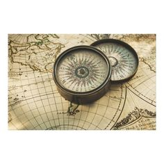 Solid-Faced Canvas Print Wall Art Print entitled Antique compass on map Map Wall Art, Canvas Wall Art, Wall Art Prints, Poster Prints, Map Canvas, Magnetic Compass, Poster Store, Map Maker, Nautical Chart