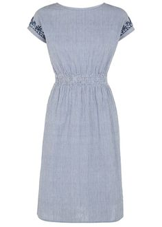 Hand woven blue striped dress in 100% cotton. Knee length with hand embroidered shoulder detail, capped sleeve, shirred waist and side pockets. Length 100cm.