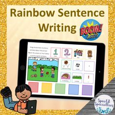 Rainbow Sentence Writing BOOM Cards™ for Distance Learning Language Activities, Writing Activities, Classroom Activities, Writing Complete Sentences, Paragraph Writing, Touch And Feel Book, Special Education Behavior, Literacy Centers, Distance