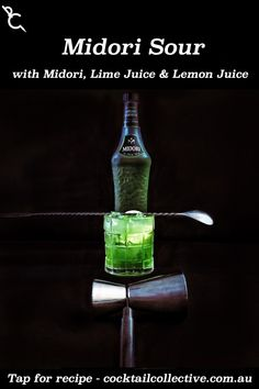Midori Sour is a bright green, sweet and sour, blast from the past with Midori, Vodka, Lemon Juice, Lime Juice & Soda Water. #cocktails #MidoriCocktails #VodkaCocktails Midori Cocktails, Vodka Cocktails, Sour Cocktail, Instagram Sign, Lemon Lime, Bright Green, Lime Juice, How To Know, Soda