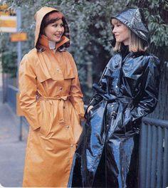 Vintage Orange and Black Raincoats