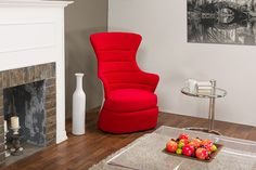 WholeSale Interiors Baxton Studio Conundrum Red Fabric & White Plastic Contemporary Armchair