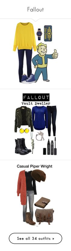 """Fallout"" by starrydancer ❤ liked on Polyvore featuring home, home decor, wall art, Closed, Converse, Mondaine, Paige Denim, Forever New, RIFLE and Exull"