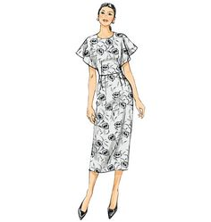 V9021 Fitted dress has front and back extending into sleeves, low armholes, back zipper and hemline slit. #voguepatterns