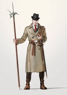 Wearing a Homburg hat, a trench coat, a double-breasted suit, and horse riding boots. Character Design Girl, Character Design Animation, Character Design Inspiration, Character Concept, Character Art, Cthulhu, Dnd Characters, Fantasy Characters, Cyberpunk