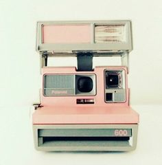 bag pink polaroid camera retro
