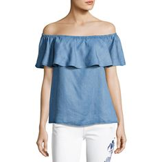 Off-The-Shoulder Ruffle Denim Top by 7 For All Mankind at Neiman Marcus. Chambray Top, Denim Top, Shell Tops, Flutter Sleeve Top, Ruffle Top, Black Ruffle, Off Shoulder Tops, Workout Tops, Blue Tops