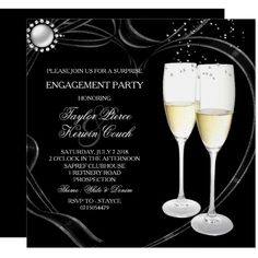 Shop Champagne & Heart Engagement Party Invitation created by Zizzago. Personalize it with photos & text or purchase as is! Country Engagement, Wedding Engagement, Engagement Shoots, Engagement Photography, Elegant Invitations, Custom Invitations, Surprise Engagement Party, Engagement Party Invitations, Create Your Own Invitations