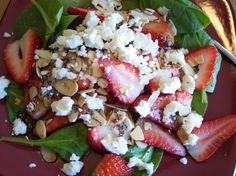 Delicious Easy Spinach And Strawberry Salad With Feta Recipe - Food.com  Made the dressing,  was amazing !  I candied pecans instead of using almonds since I can't have almonds and it was amazing!!