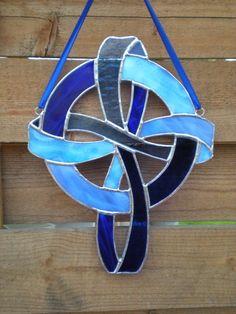 Stained Glass Celtic Cross Blue Suncatcher