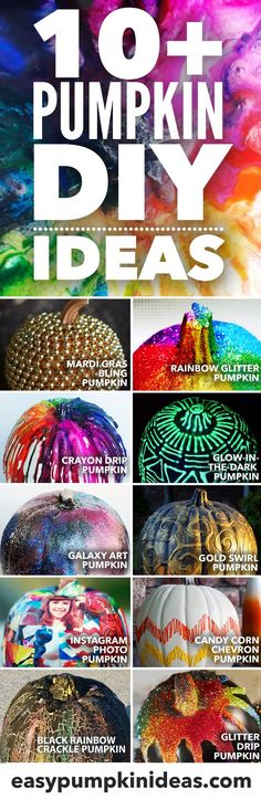 Get inspired with these easy 10+ Pumpkin DIYs - amazing ideas to get inspired for your fall and Halloween decorating that are awesome no-carving solutions for your pumpkin decorating, everything from crayon drip pumpkins to glitter decorating to glow in the dark ideas!