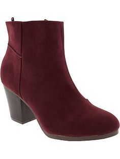 Womens Faux-Suede Ankle Boots - Wine color - $37.00 - Old Navy