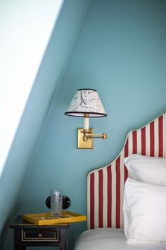 This bold palette continues upstairs in the forty guest bedrooms, which have been painted sky blue, violet or olive green. Guest Bedrooms, Interior, Hall Design, Hotel, Paris Interiors, Bedroom Design, Lodge Style, Parisian Bistro, Edward Hall