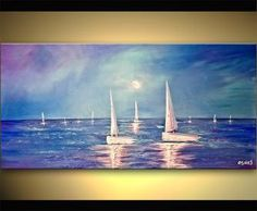 Abstract Seascape Paintings of boats on water, colorful oceans and other decorative fine art. Osnat's seascape paintings are some of the most favorable artworks by home owners, probably due to their vivid composition, flow and large size. Seascape Paintings, Landscape Paintings, Abstract Expressionism, Abstract Art, Sailboat Painting, Watercolor Artists, Abstract Photography, Online Art Gallery, Fine Art