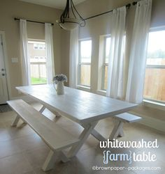 brown paper packages: {whitewashed farm table} - how to white wash and wax a table.