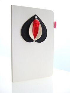 Vulvette on Moleskine notebook white and black plain xs door ampule